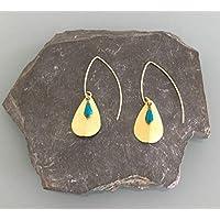 Boucles d'oreilles pendantes dorées et turquoises, crochets d'oreilles, bijoux, bijoux plaqué or, bijoux cadeaux, cadeau femme, bijou femme