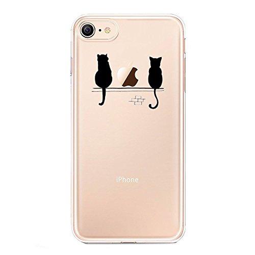 Cover iPhone 8, AILRINNI Silicone Custodia Trasparente Morbida Case [Ultra Sottile] Flessibile TPU Custodia Cover con Disegni per iPhone 8 - Panda con Elefante Gatto
