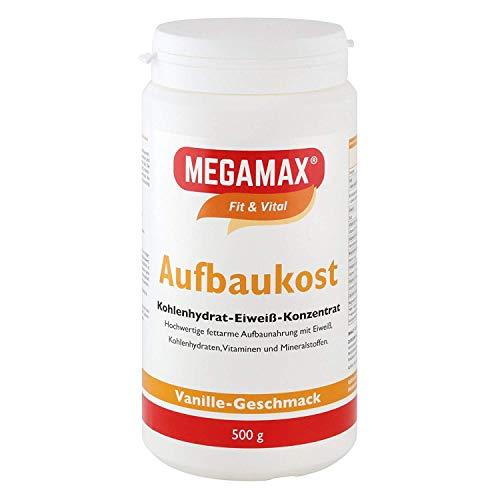 MEGAMAX Aufbaukost Vanille 500g | Ideal zur Kräftigung u. bei Untergewicht | Proteinpulver zur Zubereitung eines fettarmen Kohlenhydrat-Eiweiß-Getränkes für Muskelmasse - Muskelaufbau
