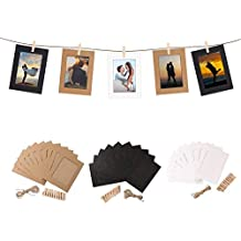 30 PCS Marco de Fotos de Papel Decoración de pared con Cuerda y Clip Bordes de