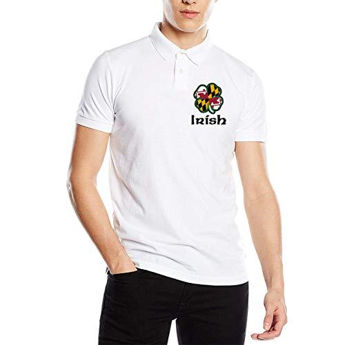 Maryland Flag Shamrock Irish-1 Men's Short Sleeve Polo T-Shirt Tee for Daily Tops T Shirt -
