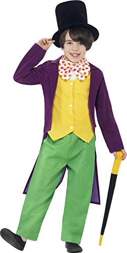 Smiffy's 27141L - Roald Dahl Willy Wonka Kostüm mit Top Hosen Fliege Hat und Cane
