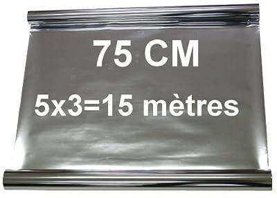 Aerzetix - 5x3=15 mètres 75 cm Film solaire teinté SILVER ARGENT EFFET MIROIR pour vitre fenêtre auto voiture velux bâtiment