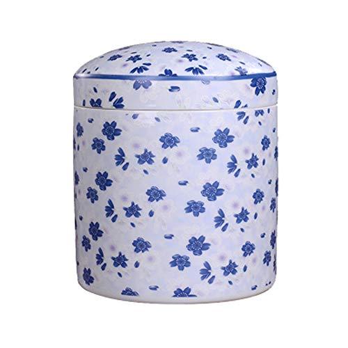 WXMJ Urna para ataúdes de cerámica urna de cremación Patrón de Flor de Cerezo Azul Perro Gato Tarro de Cenizas a Prueba de Humedad
