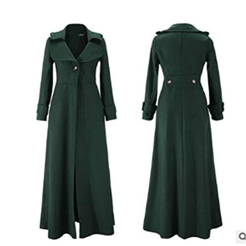 IOSDH8 Frau Langarm Extra Lange Mantel Nachgeahmt Mantel Eine Taste Umlegekragen Winter Mäntel Frau Jacke, S, grün -