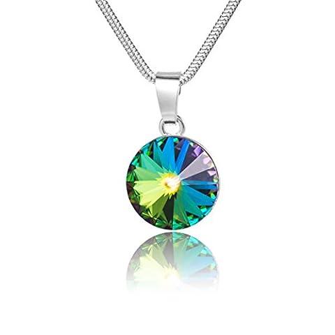 LillyMarie Damen Kette Sterling-Silber 925 original Swarovski Elements rund mehrfarbig