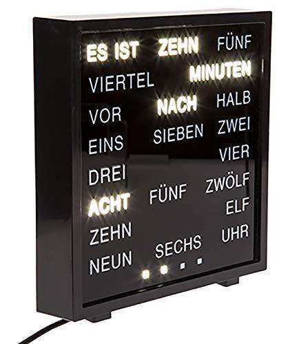 Out of the Blue 79/3263 - Uhr mit Wort Anzeige deutsch, ca. 16,5 x 16,5 cm aus Kunststoff, mit Adapter