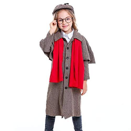 Holmes Kostüm Sherlock Einfach - QWE Große Detektivkostümrolle der Halloween-Kostümfilmfigur, die neutrale Kinderleistungskleidung spielt