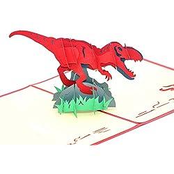 medigy 3d Pop Up Cards–Tarjetas de felicitación Tarjetas en Blanco para la mayoría occastions (dinosaurio)