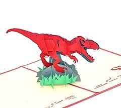 Idea Regalo - Medigy, biglietto d'auguri 3D Pop Up per svariate occasioni (dinosauro)