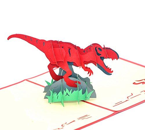 Medigy 3D POP UP Grußkarte Handgemacht Segen Papier Klappkarten Business Geschenkkarte Glückwunschkarten,Dinosaurier