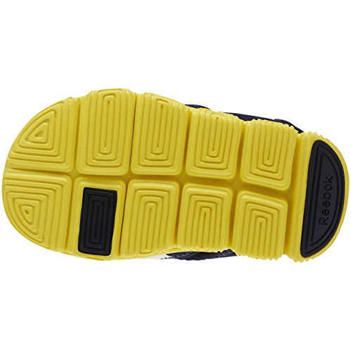 Reebok Wave Glider, Chaussures de Football Mixte Bébé Bleu / jaune / blanc (bleu marine collégial / jaune étincelle / blanc)
