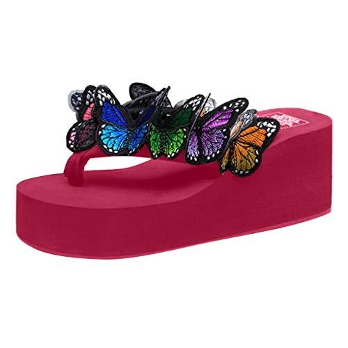 SANFASHION Damen Schmetterling Wedges Flip Flops Sandalen Sommer Strand Hausschuhe Strandschuhe Zebra Wedge Flip Flop