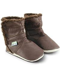 Snuggle Feet - Bottines Bébé en Cuir Doux - Marron Traditionnel