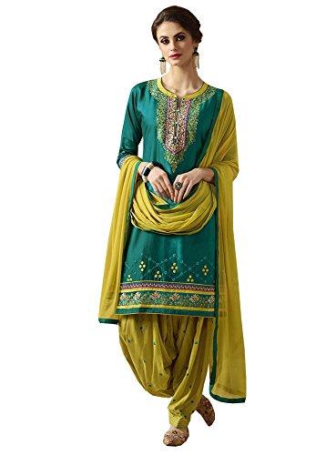 Lajree dress materialfor women party wear designer, Cotton Patiala Salwar Suit Dress Material,Green & Mahendi Color(ND-3012)
