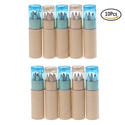 Funkelnden Sterne 10Röhren x 6PCS Farbe Bleistifte mit Papier Container Halter für Hochzeit Gastgeschenke Tasche Füllstoffe (zufällige farbigen Deckel) (Funkelnde Aquarell)