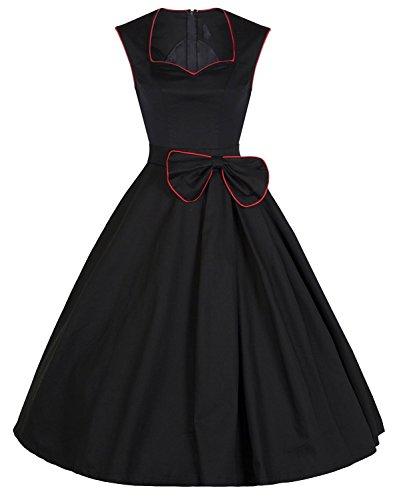 Ecollection® Damen Audrey Hepburn 50s Retro vintage Bubble Skirt Rockabilly Swing Evening Dress V024 Black