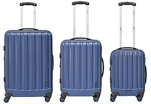 Packenger Velvet Koffer, Trolley, Hartschale 3er-Set in Atlantikblau, Größe M, L und XL
