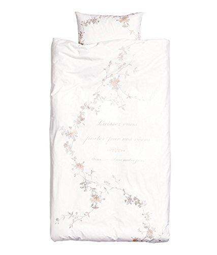 Shabby Floral Country Style Bettwäsche 100% Baumwolle Steppdecke Bezug 2-teiliges Set Twin Single Old Fashion Grau Pink Grau Cottage French Vintage Script Old Fashion Set