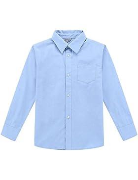 Bienzoe Chicos Uniforme Escolar Manga Larga Abotonar Oxford Camisa
