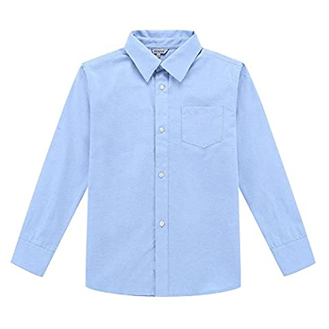 Bienzoe Big Boy's School Uniform Long sleeve Button Down Oxford