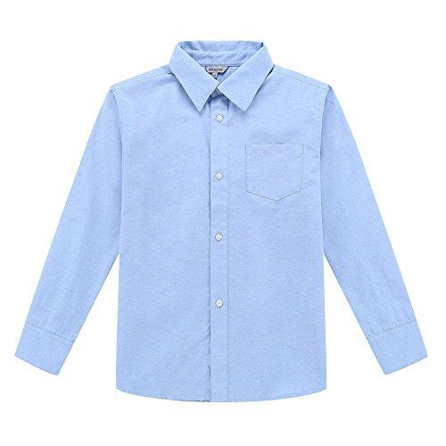 Bienzoe Jungen Schuluniform Lange Ärmel Knopf Unten Oxford Hemd Blau Größe 10 (Casual-oxford-hemden)