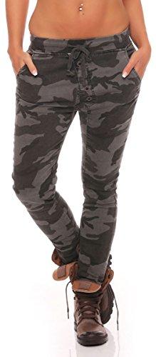 malito Camouflage Jeans Pantaloni Boyfriend Harem Aladin Sbuffo Pantaloni Pump Baggy Yoga J2016 Donna (L, grigio scuro)