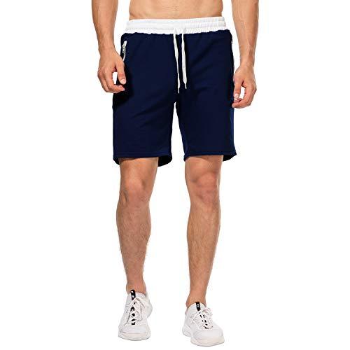 CHYU Herren Sport Joggen und Training Shorts Fitness Kurze Hose Jogging Hose Bermuda Reißverschlusstasch (M, Dark Blue)
