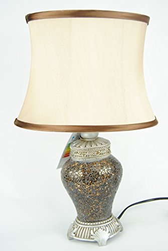 Four Seasons- Table Lamp and Shade Gold Brown Copper Mosaic Lamp With Champagne Shade