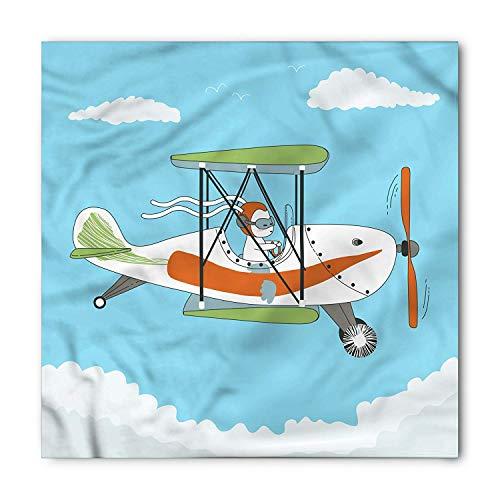 TKMSH Vintage Airplane Bandana, Rabbit Pilot Funny, Unisex Head and Neck Tie,Unisex Bandana Head and Neck Tie Neckerchief Headdress Silk-Like 100% Polyester -M Soft Cowl Neck