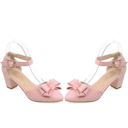 AgooLar Femme Suédé à Talon Correct Pointu Couleur Unie Boucle Chaussures Légeres Rose
