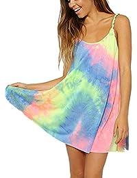 Zeagoo Frauen rundhals Sommerkleider Strandkleider bunte Boho Kleider spaghettiträger kleid