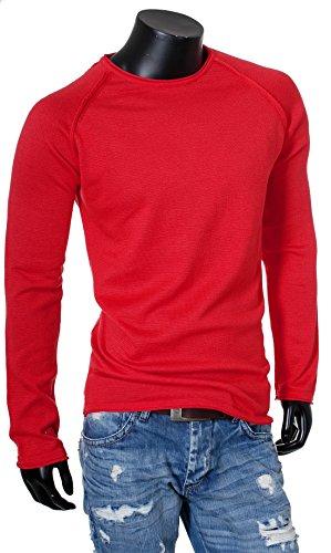 Carisma Herren Feinstrick Uni Pullover Strickpullover Strick Knit einfarbig slimfit 7370 tiefer breiter Rundhals Ausschnitt vintage Look Rot