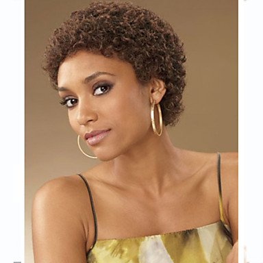 OOFAY JF ® sans colle couleur brun foncé bouclés perruque de cheveux courts de femmes à la mode pour les afro-américaine , brown