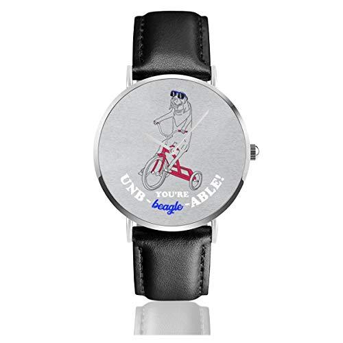 Unisex Business Casual Untraable Beagle On Dreirad Uhren Quarz Leder Armbanduhr mit schwarzem Lederband für Herren Damen Young Collection Geschenk