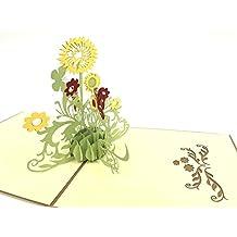 Biglietto di auguri, girasole–oro, thanks you pop-up biglietto di auguri, cartoline Kirigami Paper Craft, celebrazione, congratulazioni