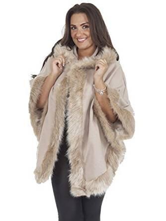 Fashion Essentials -Damen Italienische Poncho Cape Faux Pelz Hood Poncho (ONE SIZE, BEIGE)