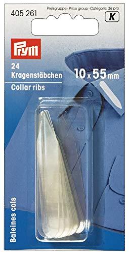 PRYM 405261 Kragenstäbchen transparent 10x 55mm, 24Stück