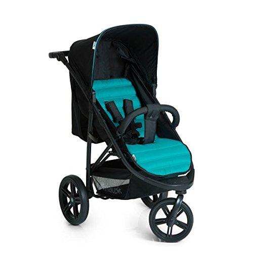 Hauck rapid passeggino 3 ruote reclinabile, piegatura compatta, per bambini dalla nascita fino a 15 kg, caviar turquoise (nero turchese)
