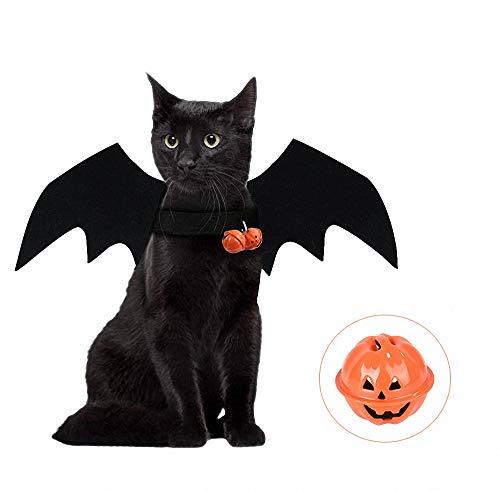 Für Fledermaus Flügel Muster Kostüm - FZ FUTURE Halloween Lustiges Haustier Kostüm, Halloween Haustier Kostüme, Katze Fledermaus Kostüm, mit Kürbis Glocke, Fledermaus Flügel Katze Haustier