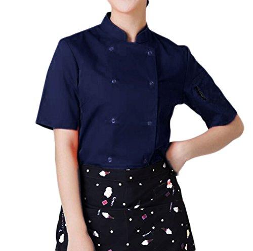 Nanxson(TM) Damen Küche Hotel Uniform Kurzarm Stehkragen Kochjacke Bäckerei Jacke CFW1005 (3XL, Blau) (Chef Uniform Frauen)