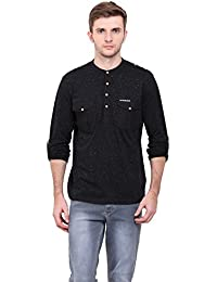 LE BOURGEOIS Black color round neck with dual pocket full sleeve men's t-shirt