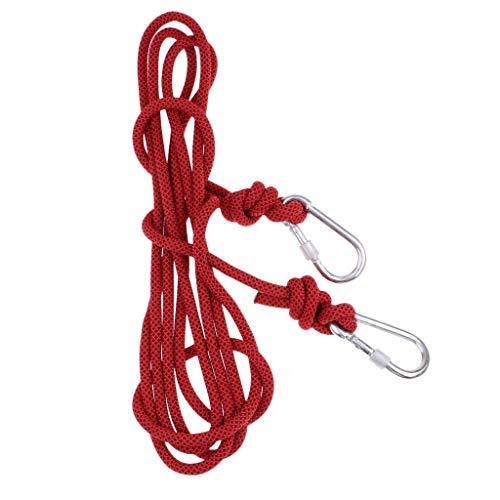 perfk Karabiner Haken 10mm Outdoor Seil, Fallschirm Leine Sicherheitseil 24 KN Abseilen Seil - rot (Habe Lanyard)