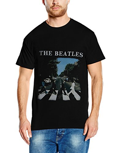 Unknown - Abbey Road and Logo, Short sleeve da uomo, Black, Large - Beatles Revolution T-shirt
