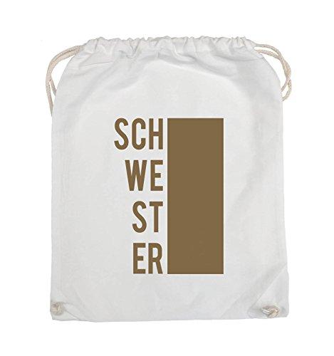 Comedy Bags - SCHWESTER - BLOCK - Turnbeutel - 37x46cm - Farbe: Schwarz / Silber Weiss / Hellbraun