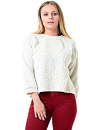 5156ea38a8a Ex Topshop Ladies Chunky Knit Fluffy Cropped Winter Jumper Cream
