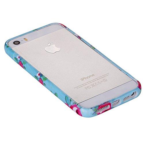 RE:CRON® Bumper Handycase Rahmen für Apple IPhone 5, 5S - Kunststoff - Leopard groß Blumen blau-pink