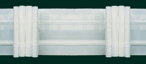 Ruther & Einenkel Faltenband mit 4 Falten, 50 mm, weiß, 300% / Aufmachung 10 m -