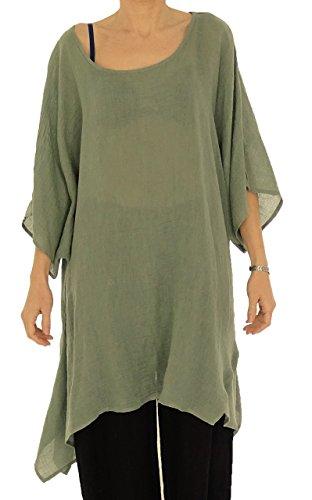 Mein Design Lagenlook de Mallorca Damen Bluse HO100 Tunika Leinen One Size Asymmetrisch Plus Size Einfarbig Gr. 40, 42, 44, 46, 48, 50, 52, 54,56 (40-46, Grün) (Design Tunika)