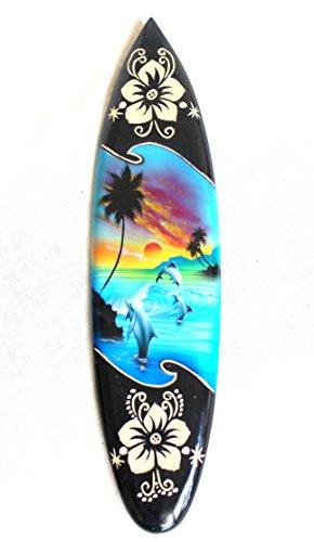 Miniatura dekosurfb oard Surf madera onda Jinete Altura 20cm, incluye soporte de madera decoración NR3